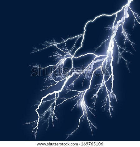 lightning white silhouette and blue sky background