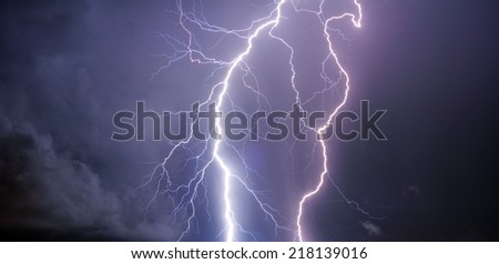 Lightning with clouds.  - stock photo