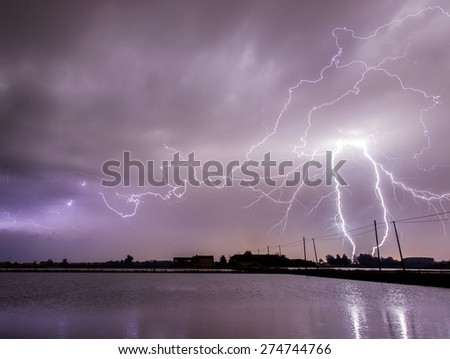 Lightnings over flooded rice fields  - stock photo