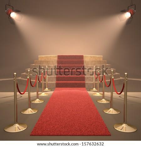 Lights illuminating the podium. Your text in light. - stock photo