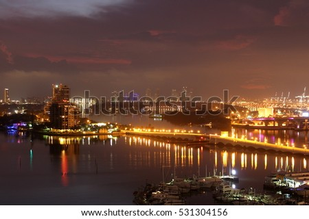 Lights of Miami and Miami Beach reflecting on Biscayne Bay.