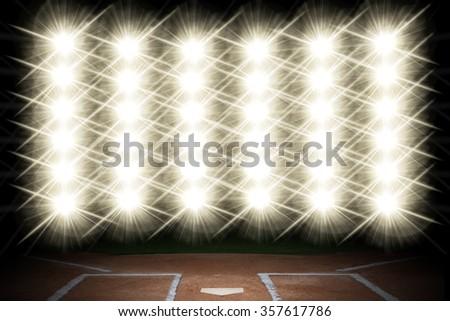 Lights on a baseball Stadium. - stock photo