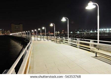 Lights on a Pier at Night