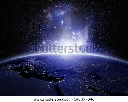 Lights on Earth (Elements of this image furnished by NASA) - stock photo