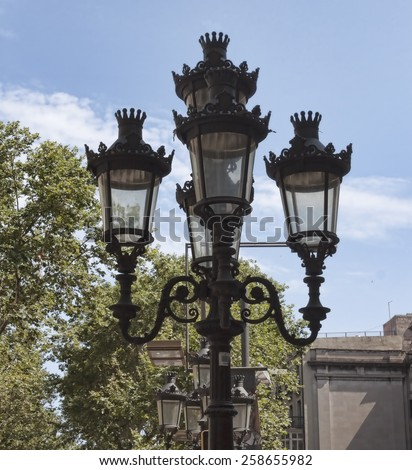 Lights on La Rambla in Barcelona in the summer - stock photo