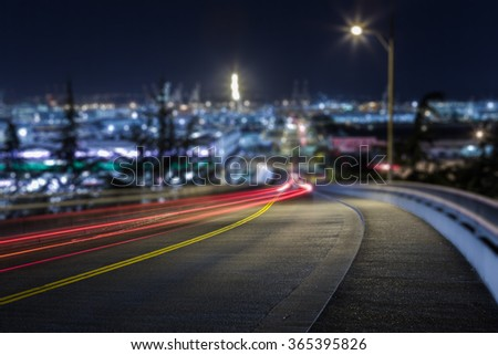 lights trail through downtown of Seattle, USA. - stock photo