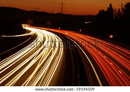 lights trails from cars in europe - stock photo