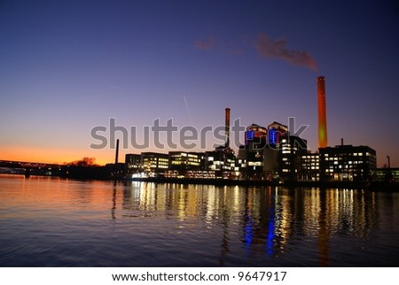 lightsome factory - stock photo