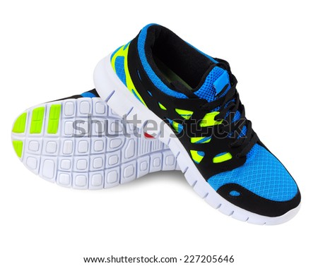 Lightweight running shoes for athletics on a white background - stock photo