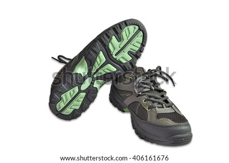 Lightweight running shoes on a white background. - stock photo