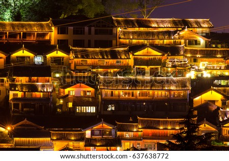 Lijiang, China - April 14,2017 : Night scenic view of the Old Town of Lijiang in Yunnan, China. The Old Town of Lijiang is a UNESCO World Heritage Site and also a famous tourist destination of Asia.
