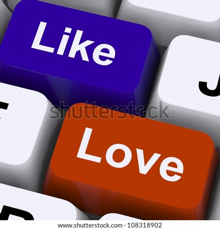 Like And Love Keys On Keyboard For Online Friends