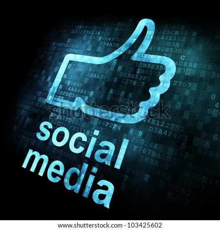 Like and words Social media on digital background on digital screen, 3d render - stock photo