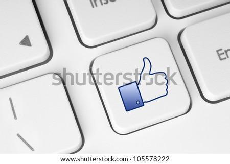 Like button on keyboard - stock photo
