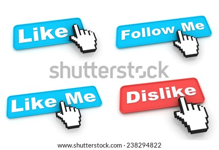 Like Concept. Blue Web Buttons with Hand Cursor Isolated on White Background. - stock photo