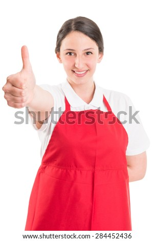 Like gesture by supermarket or hypermarket employee - stock photo