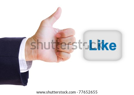 like hand and like button - stock photo