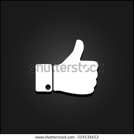 LIKE - hand. White flat simple icon illustration with shadow on a black background. Symbol for web and mobile applications for use as logo, pictogram, icon, infographic element - stock photo