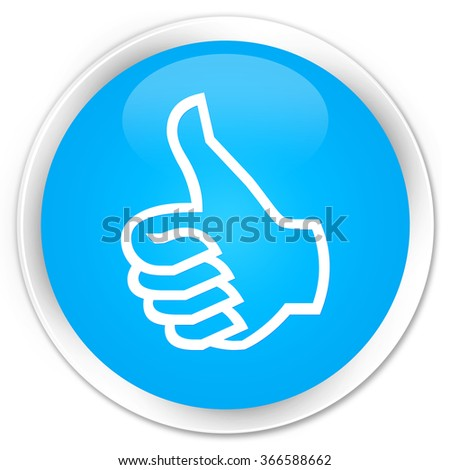 Like icon cyan blue glossy round button - stock photo