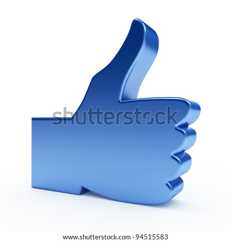 Like icon. 3d render on white background. - stock photo