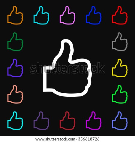 Like icon sign. Lots of colorful symbols for your design. illustration - stock photo