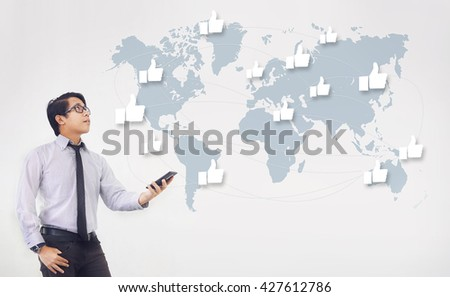 Like Network and Technology - Asian Man Holding Smartphone White Background