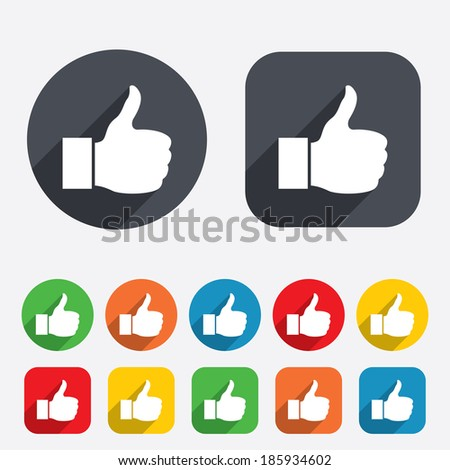 Like sign icon. Thumb up sign. Hand finger up symbol. Circles and rounded squares 12 buttons.