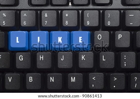 like word on blue and black keyboard button