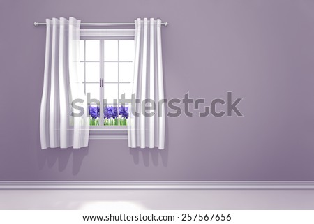 Lilac colored room interior with spring irises flowering in the window - stock photo