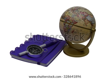 Lilac notebook with the handle and the globe with a compass.