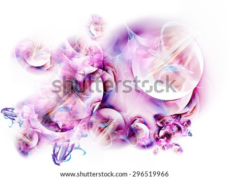 Lilac-purple fractal on a white background - stock photo