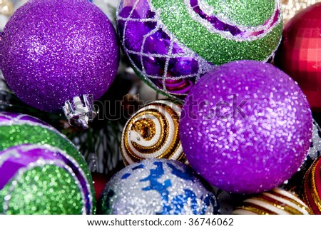 Lilac , Red, Silver, Green Christmas Ornament Background