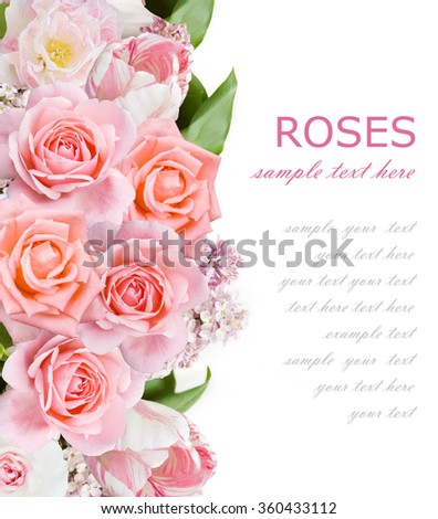 Lilac, roses and tulips flowers background isolated on white with sample text