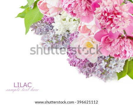 Lilac, tulips and peony flowers bunch isolated on white background