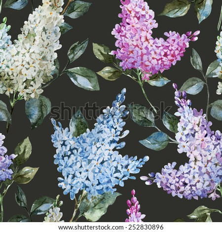lilac, watercolor, pattern, spring, flowers - stock photo