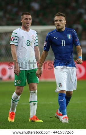 LILLE - FRANCE,  JUNE 2016 : MacCarthy Immobile in action during  football match  of Euro 2016  in France between  Italy vs Irland at the  Stade Pierre Mauroy  on June 22, 2016 in Lille.