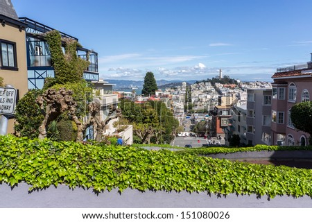 Lillian Coit Memorial Tower view from Lombard Street