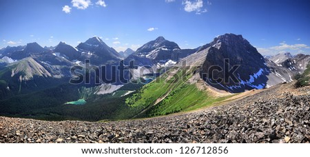 Lillian Lake and Lower and Upper Galatea Lakes. Kananaskis Park, Alberta, Canada. As view from 20 minute hike up from Guinn Pass. - stock photo