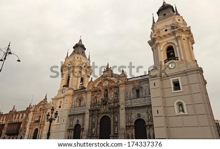 Lima Cathedral - Plaza Mayor, Lima, Peru - stock photo