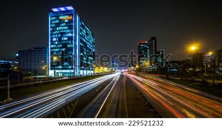 LIMA, PERU - CIRCA 2013: Night cityscape in San Isidro district circa 2013, in Lima, Peru. - stock photo