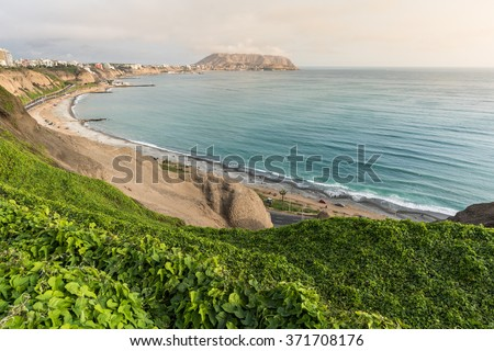 LIMA, PERU - CIRCA 2015: Panoramic view of Larcomar and coast circa 2015 in Lima, Peru. - stock photo