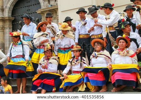LIMA, PERU-JANUARY 31: Unidentified people rest during Festival of the Virgin de la Candelaria on January 31,2015 in Lima, Peru. Core of the festival is dancing performed by different dance schools