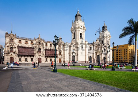LIMA, PERU - MAY 10, 2015: The Basilica Cathedral of Lima is a Roman Catholic cathedral located in the Plaza Mayor in Lima, Peru