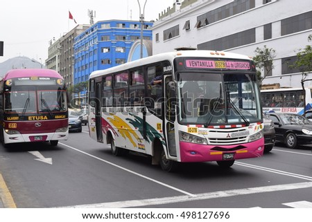 Lima Peru - October 13 2016 - Public bus at Abancay street