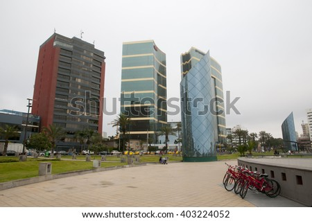 LIMA, PERU - September 15, 2014: Miraflores coastal area of Lima is the most modern part of the capital city