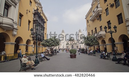 LIMA, PERU - SEPTEMBER 25 2008: Palace of the Union in Plaza Mayor in Historic Center of Lima.