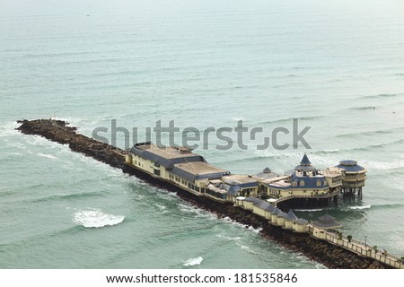 LIMA, PERU - SEPTEMBER 20, 2011: The restaurant La Rosa Nautica built on a pier on the coast of the district of Miraflores, photographed on September 20, 2011 in Lima, Peru - stock photo