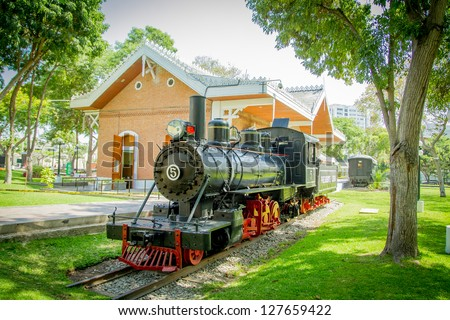 Lima, reducto Park with train - stock photo