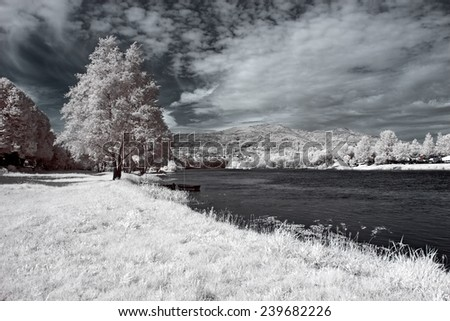 Lima riverbank. Ponte de Lima, north of Portugal. Infrared. - stock photo