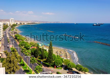 Limassol, Cyprus. Coastline and beach aerial view, and the ships in the sea - stock photo